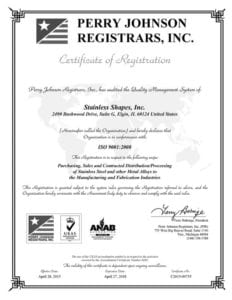 Certificate of registration for Stainless Shapes